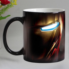 Free shipping iron man Heat sensitive Coffee mug cup Ceramic Magic Color changing Tea Cups suprise gift