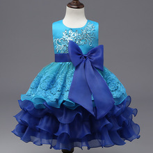 Layered Dress 2017 New flower girls dresses Big Bow blue baby Evening Gown Birthday party dress Wedding Girl Princess Dresses