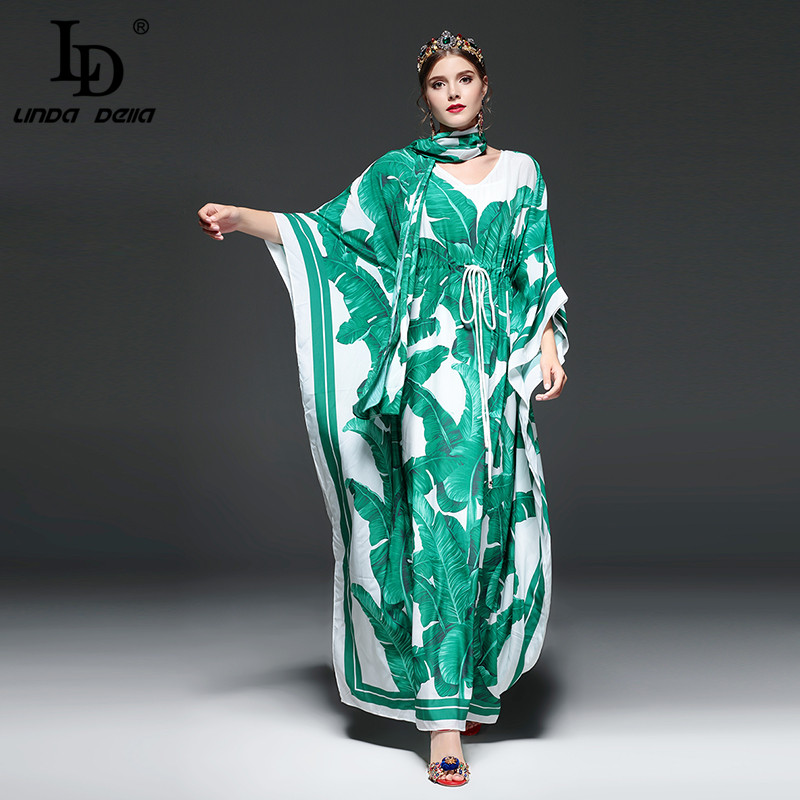 High Quality Runway Fashion Designer Maxi Dress Women's Batwing Sleeve Green Palm Leaf Floral Print Loose Casual Long Dress