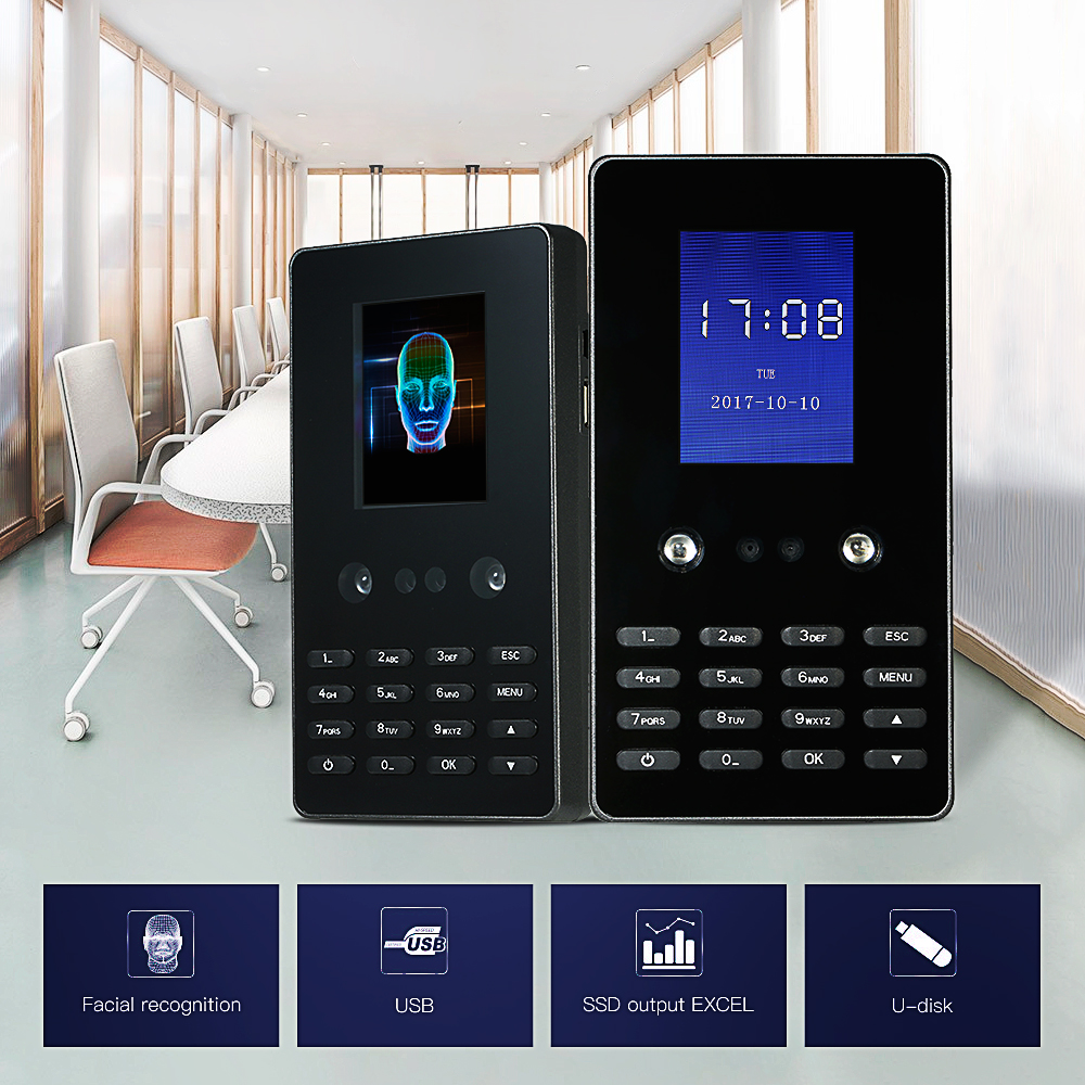 Face Recognition Attendance Machine Face Password 2.8inch HVGA Screen Employee Checking-in Recorder