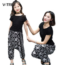 V-TREE Mother Daughter Clothes Fashion Family Matching Outfits T Shirt + Pant Clothing Sets For Family Summer Clothes(China)