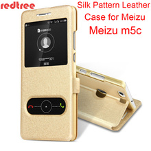 REDTREE Silk Pattern Case for Meizu m5c View Window Flip Cover Smartphone Leather Case for Meizu m5c Celular Back Capa Coque