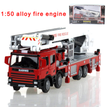 Alloy engineering lift up fire engine vehicle model 1:50 aerial fire truck ladder support original die cast model toy 625014(China)