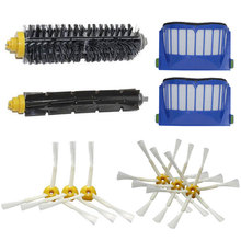 2 Blue AeroVac Filter + 1 set main Brush kit +6 side brush for iRobot Roomba 500 600 Series 560 581 620 630 650 660 Accessory
