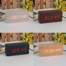 Large Size LED Wooden Alarm Clocks with Thermometer Rectangle Table Clocks Big Numbers Digital Clock Classic LED Wooden Clocks