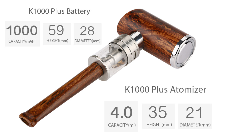 Original Kamry K1000 Plus E-Pipe Kit E-cigarette with Extra 5pcs K1000 Plus Atomizer Coil Wooden E Pipe Mod and 1100mAh Battery 2