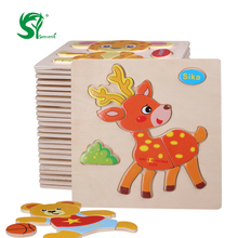 3D Wooden  Toys for children Puzzles Jigsaw Toddlers Educational colorful Cartoon animal 3D puzzle christmas kids Toys oyuncak