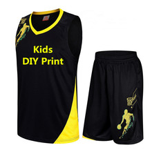 Kids Basketball Jersey Sets Child Uniforms kits Boys Girls Sports clothing Breathable Youth Training Basketball Jerseys shorts(China)