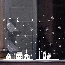 Christmas Shop Window Decoration Snow Wall Stickers Christmas Snowflakes Town 2AU22(China)
