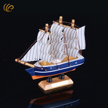 13x3x14cm Small Sailboats Types Handmade Wooden Sailboat Model Boat Cannon Desk Decoration Christmas Best Gifts