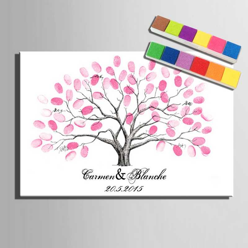 Fingerprint Signature Canvas Painting Pink Tree Wedding Gift Personalize Wedding Decoration Guest Book