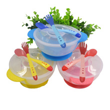kids sensing temperature baby dinnerware set china dishes games bowl spoon fork set children's dishes christmas gift(China)