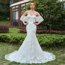 Dressv Off The Shoulder Mermaid Long Wedding Dress Sleeveless Court Train Lace Elegant Garden Church Princess Wedding Dresses(China)