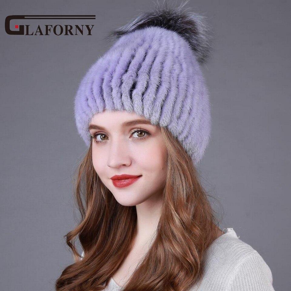 2017 Knitted Mink Fur Beanies Women Winter Warm Fur Hats with Silver Fox Fur Pompoms Real Fur Caps High QualityÎäåæäà è àêñåññóàðû<br><br>