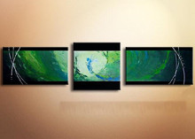 Abstract Green Painting Hand Painted Canvas Oil Paintings Modern Home Decor Wall Art Graffiti Paintings For Living Room 3 Panel