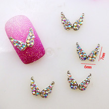 10Pcs/Pack 6*7mm Wing with AB Colorful Rhinestone Metal Alloy Nail Art Decorations Nail Charms/decos Nail Supplier Jewelry(China)