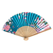 blue Bamboo Ribs Flower Pattern Foldable Hand Fan
