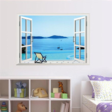 island sea beach resort 3d fake windows wall stickers living room decor diy home decals peel and stick scenery mural art posters(China)