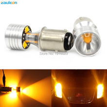 Zauleon 2pcs 1157 BAY15D P21/5W Yellow 20W led High Power car turn signal light Amber Parking Light car-styling(China)