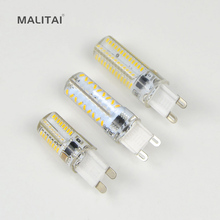 10Pcs/lots G9 Silicone lamparas LED lamp 5W 7W 9W 220V Corn Bulb 64LEDs 72LEDs 104LEDs Crystal Chandelier Replace halogen light(China)