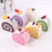LeadingStar Cute Simulation PU Swiss Roll Creative Mini Soft Cake Model Kids Toy Home Kitchen Party Decoration Christmas zk45(China)