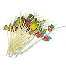 50pcs Fashion Plastic Fruit Cocktail Drinking Straw BBQ Hawaiian Party Theme Decoration (Random Color)