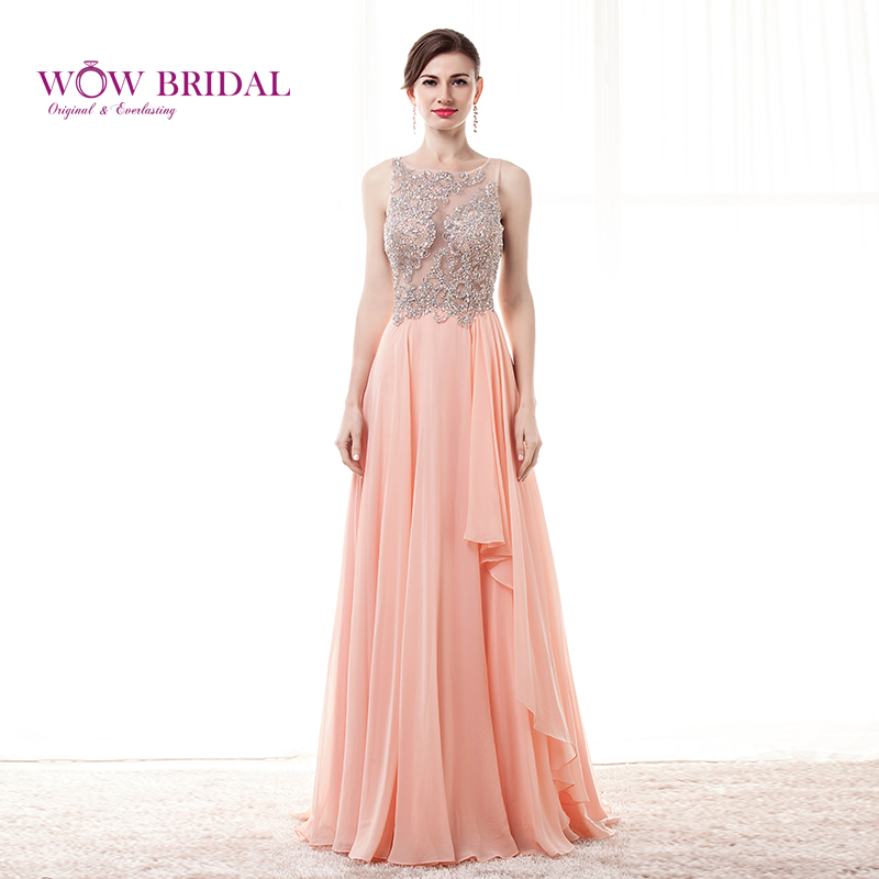 Wowbridal Sexy Pink Long Prom Dress 2015 Scoop Crystal Beaded Sheer Open Back Chiffon Draped Sweep Train A-Line Party Gown