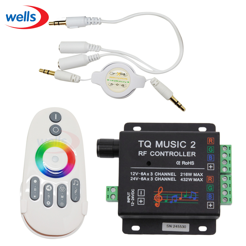 New DC12V 24V 18A 3 Channel TQ Music 2 RGB LED Remote Controller RF Music Audio control  for SMD 3528 5050 5630 Led Strip Light<br>