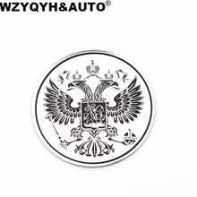 Car styling 3D Aluminum Coat of arms of Russia car body metal sticker Russian Eagle Decal Decoration car stickers decals emblem(China)