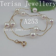 New Free Shipping A253#,AAA Size:7-8mm Natural Fresh Water Pearls Made 925 Silver Chain in Gold Color  Necklace.