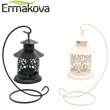 ERMAKOVA Vintage Metal European Candlestick Candle Lantern Holder Articles Hanging Lantern with Candle Stand Wedding Home Decor