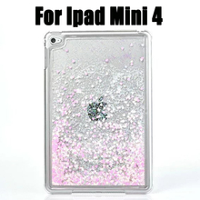 New Crystal PC For iPad mini 4 Bling Glitter Love Heart Liquid Sand Tablet Cover Capa Para Case For iPad Mini 4 Back Cover