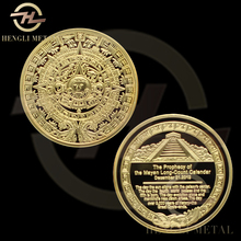 30 pcs/lot 40mm 2012 Mayan Prophecy Coin With Reverse of Sunshine Pyramid Aztec Maya Calendar 1 Oz. 24K Gold Plated MayanCoin