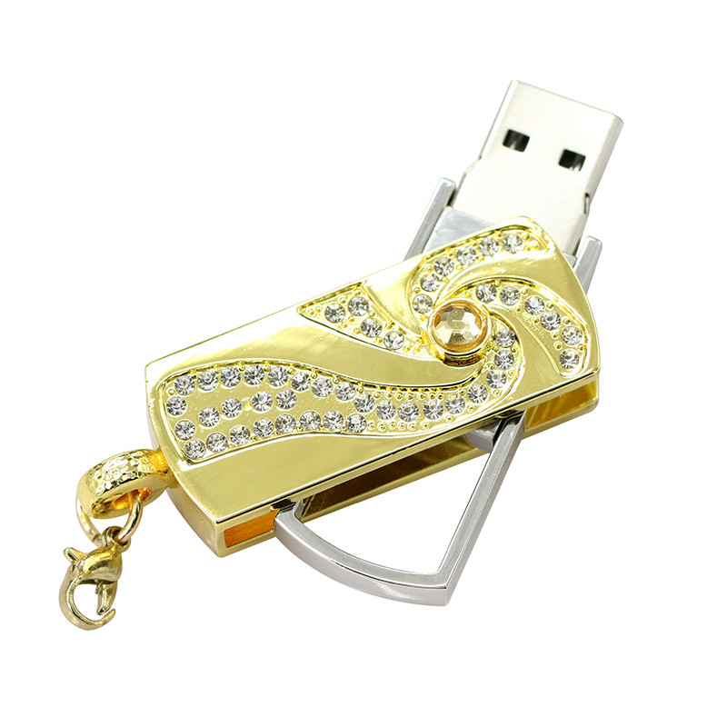 Metal Crystal Full Diamond Rotary Key Chain USB 2.0 Flash Drive 4GB 8GB 16GB 32GB 64GB 128GB Flash Disk Memory Stick Pendrive 26