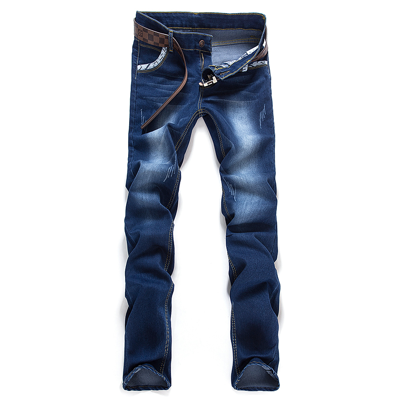 Mens 2016 Spring Fashion Slim Korean version of the trend of bleached jeans stretch straight solid color simple denim trousersОдежда и ак�е��уары<br><br><br>Aliexpress