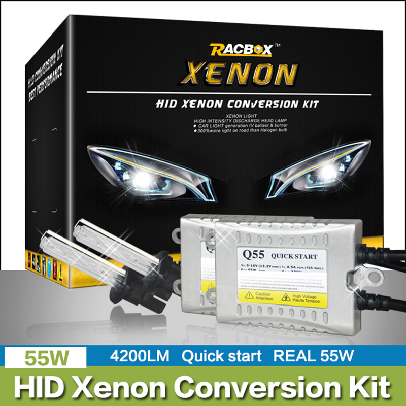 Fast Start HID Bulb Xenon Conversion Kit Car Xenon Headlight H1 H3 H7 H4 H11 9005 HB3 9006 HB4 6000K 4300K 55W Ballast 12V 24V(China (Mainland))
