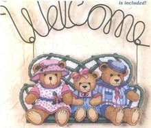 Top Quality Beautiful Lovely Counted Cross Stitch Kit Door Hanging Hang Decoration Welcome Teddy Bear Bears Family(China)