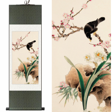 Chinese Silk watercolor flower and birds Plum daffodils starling ink feng shui canvas wall picture damask framed scroll painting