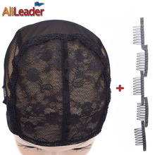 AliLeader Selling 5Pcs Lace Wig Caps With 25Pcs Wig Combs Black Color Top Quality Swiss Lace Weave Caps For Making Wigs XL/L/M/S(China)