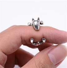 RONGQING Fashion Retro Bull Terrier Dog Rings Cute Adjustable Animal Rings for Women Anillo De Bull Terrier JZ-005