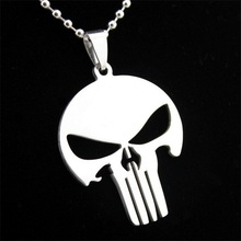 Fashion Men's Silver Titanium Stainless Steel Skull Pendant Long Chain Necklace