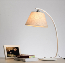 American Pastoral bedroom lamp warm North European IKEA simple modern library cloth lamp bedside lamp(China)