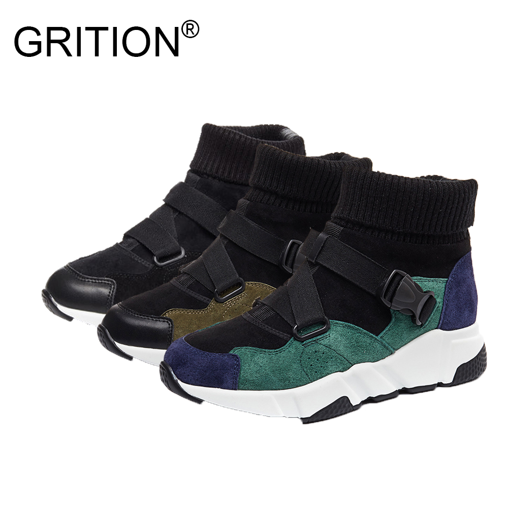 GRITION 2017 New Women Winter Sock Shoes Breathable Stretch Fabric Socks Shoes Low Heel Ankle Boots Fashion Zapatos Mujer<br>