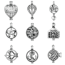 BAMOER 925 Sterling Silver Tree of Life Anchor Heart Cage Pendant Fit Chain Necklaces for Women Authentic Silver Jewelry SCP005(China)