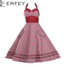 Buy LERFEY Summer Sexy Dress Retro 50s 60s Swing Robe Vintage Pleated Summer Plaid Sleeveless Dresses Party Women's Dresses Vestidos for $17.99 in AliExpress store