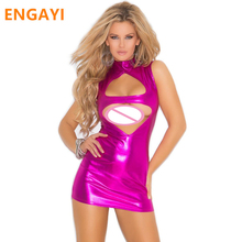 Buy ENGAYI Brand Sexy Summer Faux Leather Latex Women Erotic Dress Sexy Lenceria Babydoll Nuisette Porn Sexy Costumes Dresses A1065