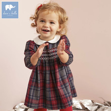 DB5565 dave bella infant baby girl's princess dress fashion plaid dress toddler children lolita clothes(China)