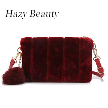 Hazy beauty soft faux fur women flap chic burgundy color lady shoulder winter bag hot girls wristlet bags cross body bag a436(China)