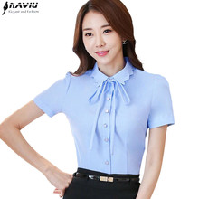 New fashion clothes women shirt OL Temperament business formal slim bow chiffon blouse office ladies plus size work wear tops