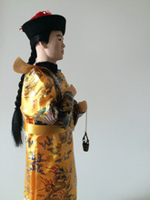 Oriental Broider Doll 33cm Chinese Emperor dolls On Square Wooden Base great shape dress dragon robe with copper bucket in hands